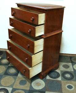 Handsome Solid Wood 5 Drawer Highboy Dresser SEE VIDEO