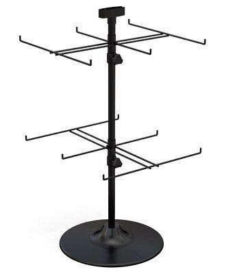 Counter Top Spinner Display Rack - 2 Tier 12 Peg Black