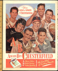 1947 Chesterfield cigrette ad, Ted Williams, Stan Musial