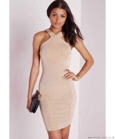 Slinky Cross Strap Bodycon Dress- NUDE