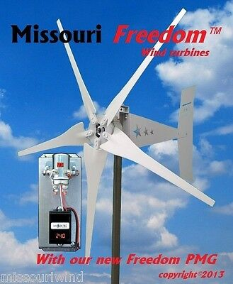 Missouri Freedom 24 volt 1700 watt max 5 blade wind turbine Package Bare Steel