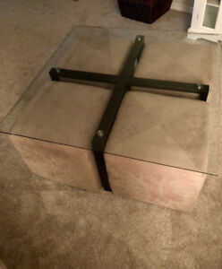 Solid glass coffee table for sale