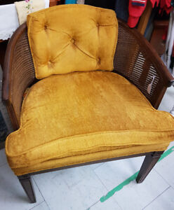 """Vintage """"Tub"""" Chair (Gold colour with wood trim)"""