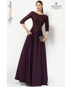 Alyce Paris Mother of Bride Gown Dress Size 8 #27099 Aubergine