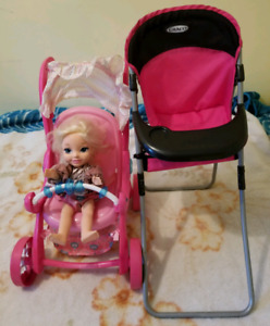 Doll With Stroller & High Chair