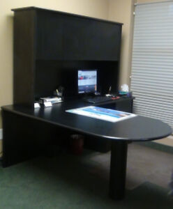 Black L-shaped office desk with hutch & Book shelf with drawers