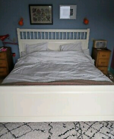 White Ikea double bed + mattress (delivery available