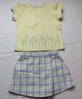 Little Me Girls Skort and Top Set Lavender Yellow Short Sleeve Size 18 M  #7046