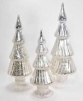 Silver Mercury Goggles Tree Shaped Finials Ornaments Tabletop Set of 3 Christmas