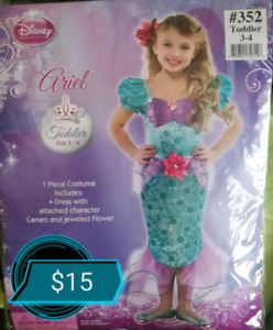 Girls Ariel LITTLE MERMAID Costume - Size 3-4T