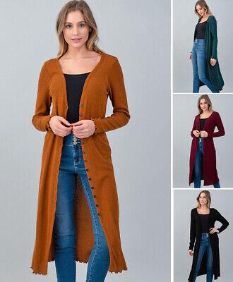 Women's Long Midi Cardigan Sweater Soft Ribbed Knit Long Sleeve Solids -