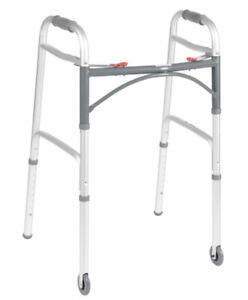 Deluxe Folding Walker, Two Button with Wheels brand new
