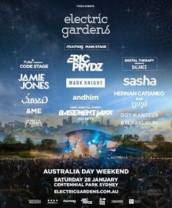 Electric Gardens Ticket (paper ticket) - Sydney 28th January Sydney City Inner Sydney Preview