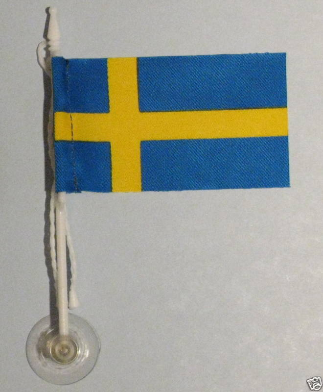 Sweden MiniPole Car / Window Flag NEW