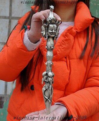 Tibet buddhism silver horsehead Mahakala buddha statue Dorje Vajra Phurpa Dagger