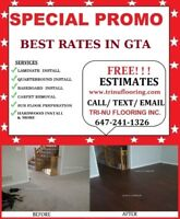 ◆ $0.99/sqft LAMINATE ENGINEERED FLOOR BASEBOARD INSTALLATION ◆