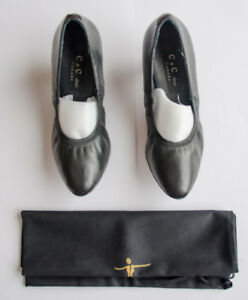 New black leather dancing shoes made in Canada