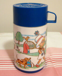 Bouteille isolante vintage Aladdin style Thermos fillette tennis