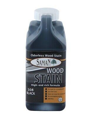 Interior Water Based Wood Stain - Saman 5950431 Interior Water Based Wood Stain, Black, 32 Oz