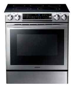 Samsung Slide-In Electric Range - Stainless Steel, Black Cooktop