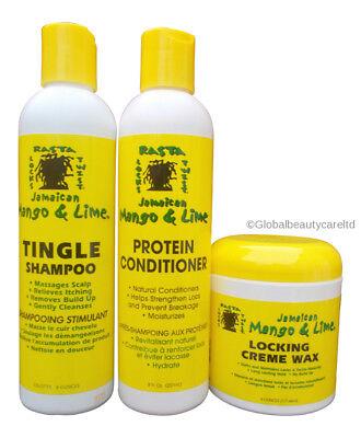 Jamaican Mango & Lime Tingle Shampoo & Protein Conditioner,Locking Creme Wax