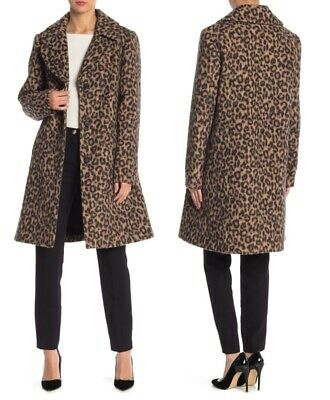 Kate Spade leopard print wool blend A-line drop shoulder novelty coat sz L  $498