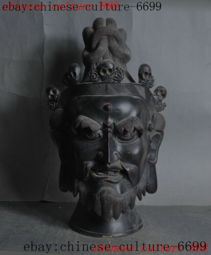 "14""Rare old Tibetan Buddhism bronze temple God Buddha statue"