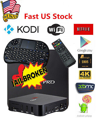 MXQ PRO S905 Smart TV BOX Quad Core Android5.1 HD 1080P WIFI 4K+Keyboard US