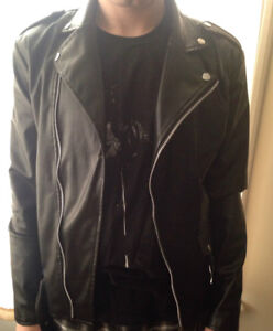 New Faux Leather Biker Style Jacket Well Made Size M Mens