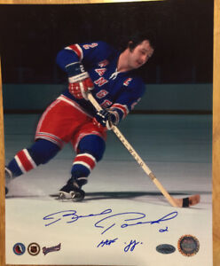 BRAD PARK Autographed Inscribed NewYork Rangers NHL Hockey Photo