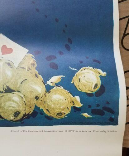 Vintage 1969 K NSTLERMASKENFEST Ph. Kamm Poster West German Lithograph Minstrel - $9.00