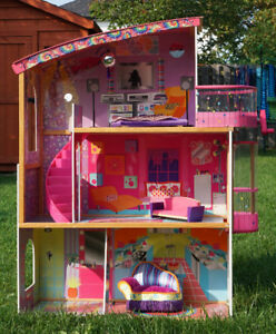 3-story dollhouse with elevator and furniture