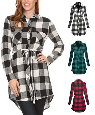 Long Sleeve Plaid Cotton Flannel Button Down Belted Tunic Shirt Dress S ~ L (Cotton Plaid Belt)
