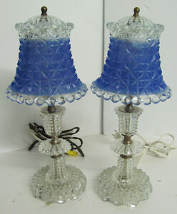Pair of Antique Glass Boudoir Lamps