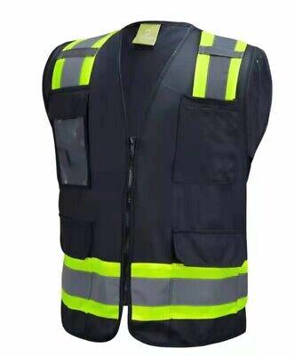 Surveyor Black Two Tones Safety Vest With Multi-pocket Tool Photo Id