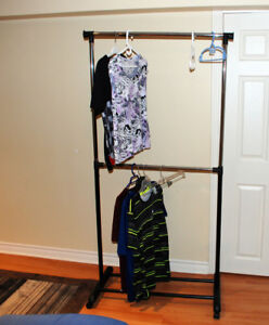 clothing rack, rolling rack with wheels
