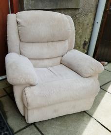 Cream Fabric Recliner Armchair