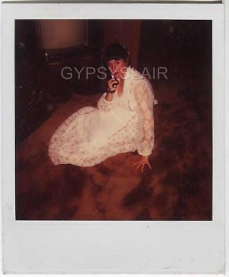 1980s Vintage Polaroid Photo Girl in Sheer Peasant Maxi Dress Talking on - Girls In Sheer Dresses