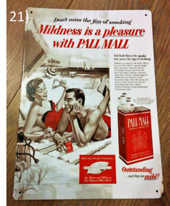 PALL MALL Cigarettes Ad Metal Plaque/Plate Sign