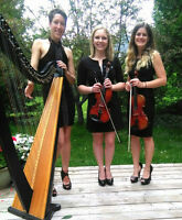 Elegant String Trio – Harp and Two Violins