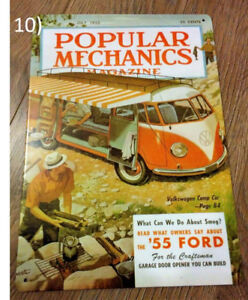 Popular Mechanics Mag July 1955 Cover with VW Camper Metal Sign