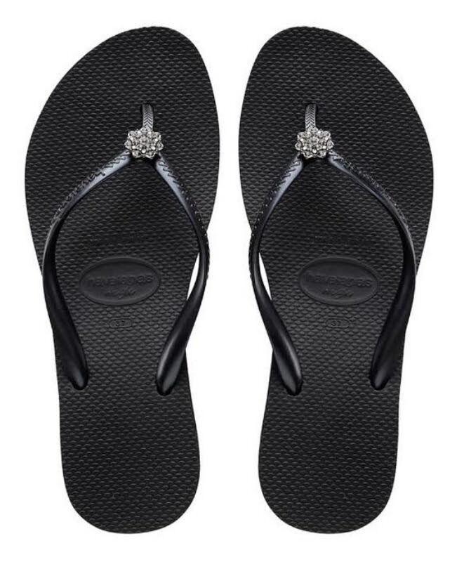 Havaianas Women`s Flip Flops High Fashion Poem Black Wedge S