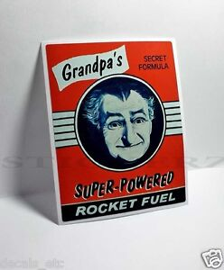 GRANDPA'S ROCKET FUEL Vintage Style DECAL, Vinyl STICKER, rat rod, racing