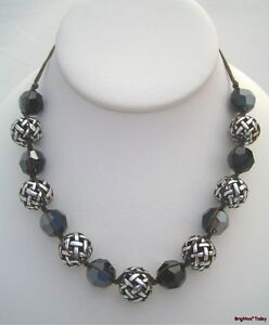 NWT BRIGHTON Dream Weaver $92 NECKLACE Black Swarovski Crystals Silver Beads NEW