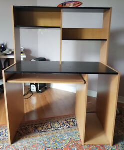 Large Wooden Desk with Shelf