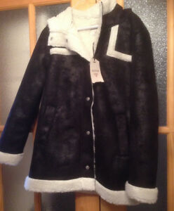 Guess Faux Shearling Black Coat Size Medium Tags attached