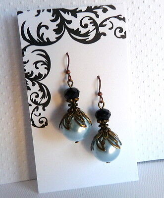 Victorian Art Nouveau Style Light Blue Pearl and Black Crystal Bronze Earrings