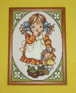 Vintage Framed NEEDLEPOINT Stitch Picture - Young Girl with Doll