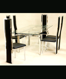 Brand New Crystal Glass Extending Dining Table with 6 PU Chairs