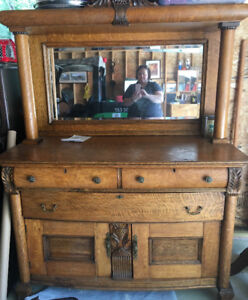 Solid Oak Buffet/Cabinet